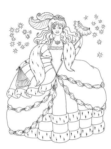 winter princess coloring page оцветяване забава