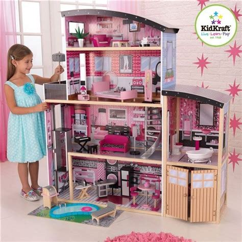 kids wooden dolls house kidkraft 65826 kids sparkle mansion big wood doll house fashion wooden dollhouse ebay
