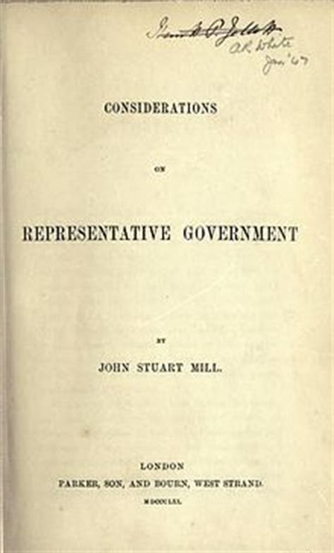 Representative Gov Opinions On Considerations On Representative Government