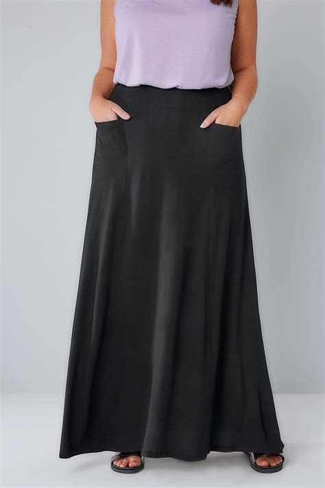black maxi skirt with pockets plus size 16 to 36