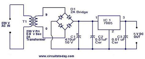 integrated voltage regulator design 5v power supply using 7805 ic with circuit diagram