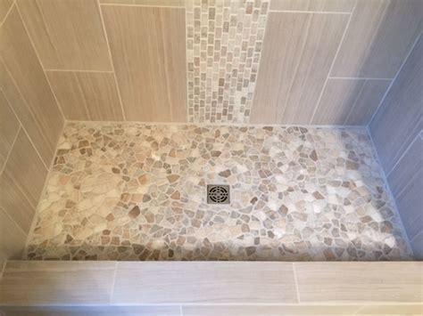mixed quartz shower flooring with quartz accent subway tile outlet
