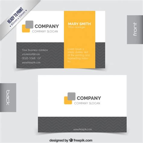 Business Card Template Grey by Business Card In Grey And Yellow Tones Vector Free