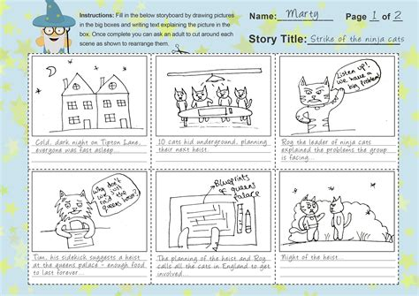 pattern story writing imagine forest free storyboard template for kids