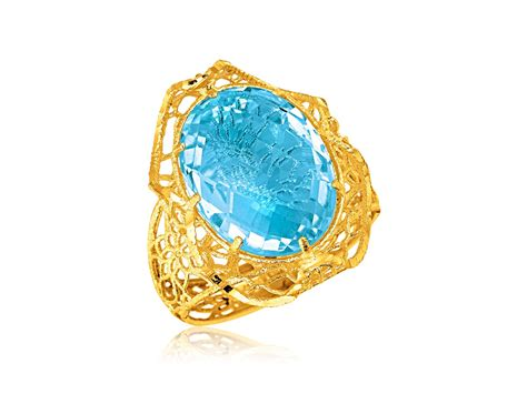 oval blue topaz lace ring in 14k yellow gold richard