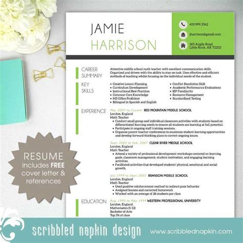 teacher resume template free resume template resume with free cover letter