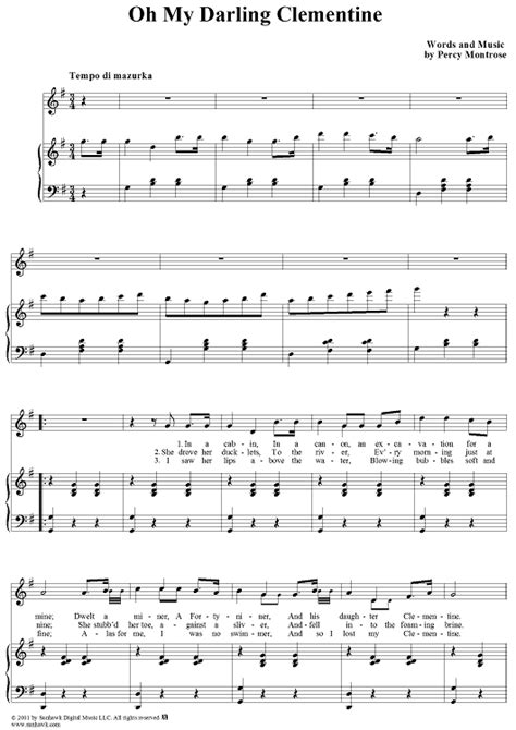tutorial piano oh darling oh my darling clementine sheet music for piano and more