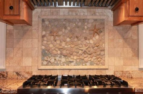 An eclectic custom kitchen backsplash mural done by Wet