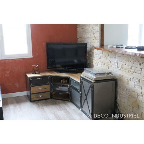 www tv meuble tv d angle industriel en acier et pin massif m