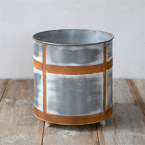 galvanized rolling tub planter terrain