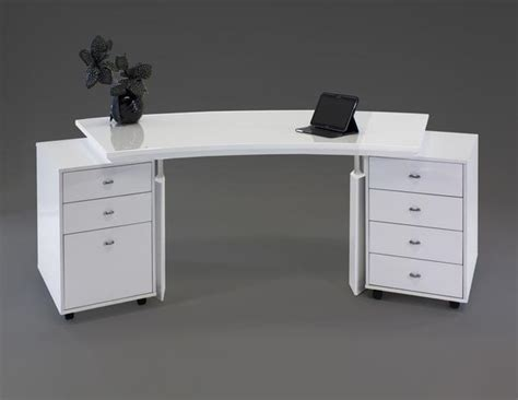 White Lacquer Desk by Modern White Lacquer Curved Executive Desk With Mobile