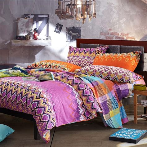 blue bohemian bedding purple orange and blue zig zag stripe gypsy themed