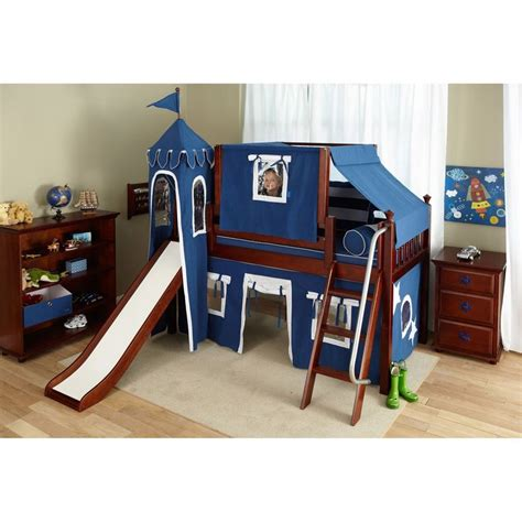Bunk Beds With Tents And Slides To It Wow Boy I Deluxe Panel Low Loft Tent Bed With Slide 1649 99 Decor