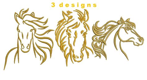 embroidery design horse 3 designs horse head outlined embroidery by