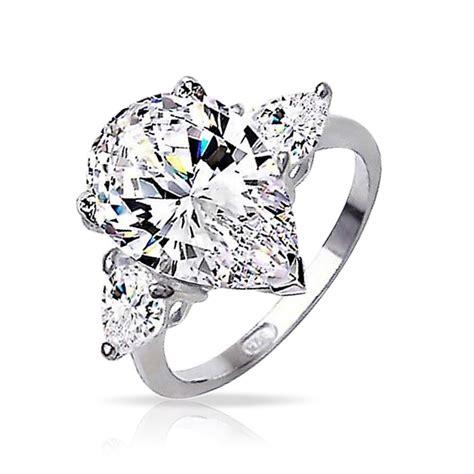 sterling silver classic 3 pear shape cz engagement ring