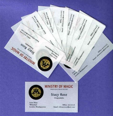 ministry card template ministry of magic business cards set of 10 personalized