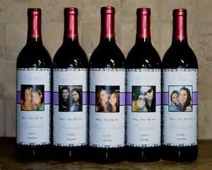 custom bridesmaid wedding wine label set of 5 damask will