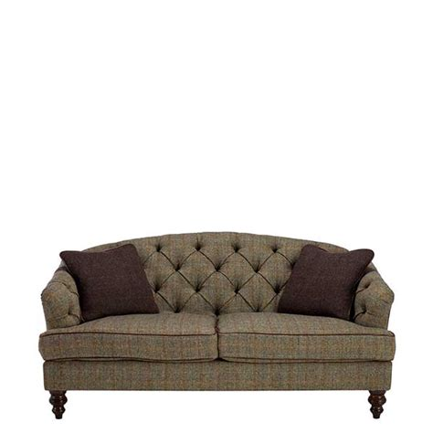 Leather And Tweed Sofa Harris Tweed Leather Dalmore Petit Sofa Bracken Herringbone