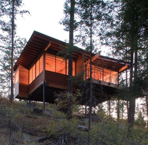 not buying anything density efficiency and tiny homes small cabin on stilts at flathead lake from below by