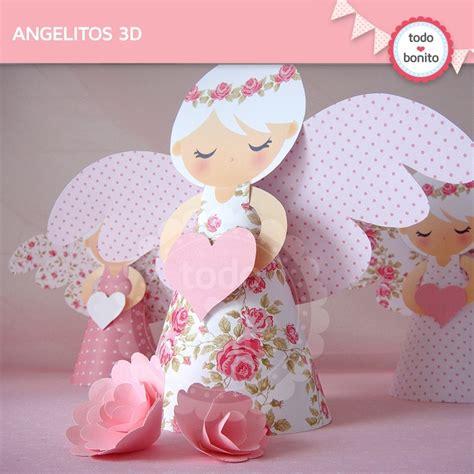 manualidades para compartir angelitos souvenirs shabby chic rosa angelitos 3d todo bonito