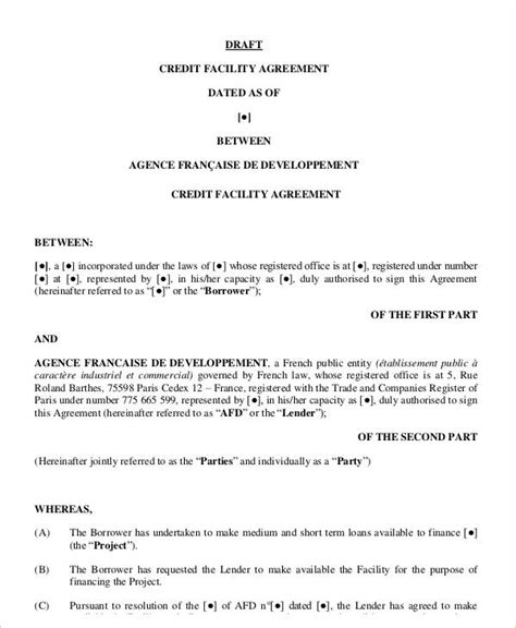 credit agreement template 9 facility agreement templates free sle exle