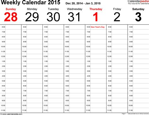 Calendar Excel 2015 Weekly Calendar 2015 For Excel 12 Free Printable Templates