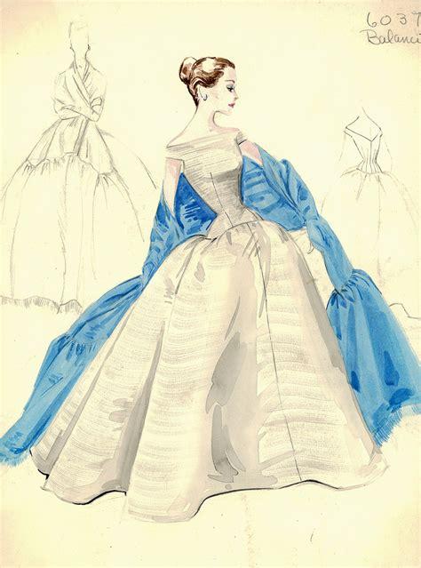 evening gown sketch by balenciaga for bergdorf goodman