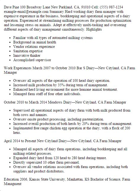 Farm Manager Sle Resume by Diary Farm Manager Resume Template Best Design Tips Myperfectresume