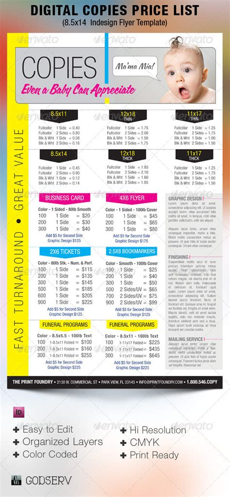 digital printing price list flyer template on behance
