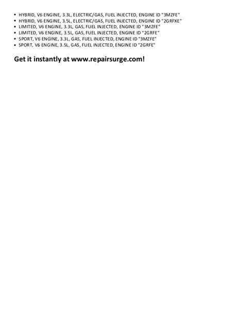 free service manuals online 2011 toyota highlander on board diagnostic system toyota highlander repair manual 2001 2011