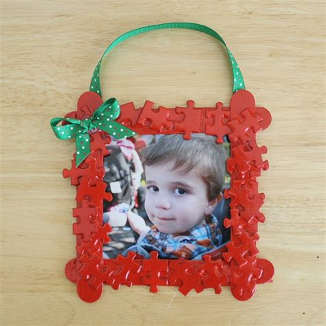 homemade christmas ornaments puzzle piece frame buggy