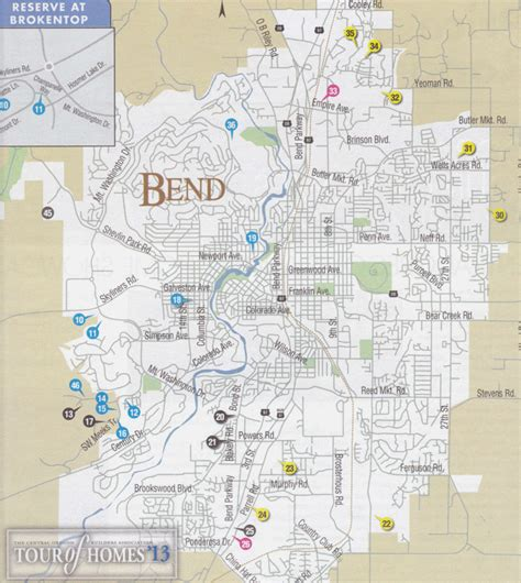 map of oregon bend 2013 tour of homes bend map