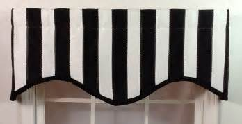 Black And White Window Valance Black And White Striped Shaped Valance With Black Pleated