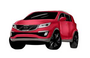 Kia Lineup 2014 Kia Car Suv Minivan Line Up Cartoonized Vehicle