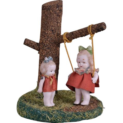 swing dolls hertwig all bisque dolls with original tree and swing from