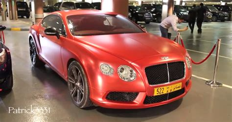 matte red bentley matte red bentley gt is ready for christmas in dubai