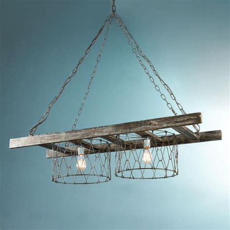 Farm Chandelier Rustic Ladder Island Chandelier Rustic Chain And Wire Baskets Create This Farm House Inspired