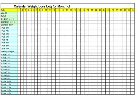 search results for weight loss chart template calendar