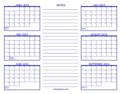 2015 calendar by month template 6 month calendar 2015