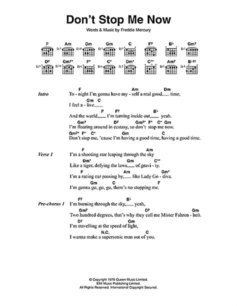 testo don t stop me now don t stop me now sheet by lyrics chords