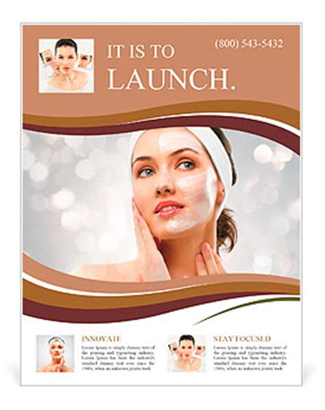 beauty women getting mask flyer template amp design
