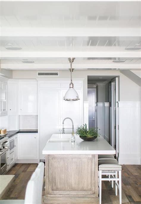 Beach Kitchen with Gray wash Wood Island   Cottage   Kitchen