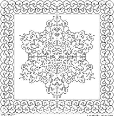 snowflake mandala coloring pages don t eat the paste another snowflake set