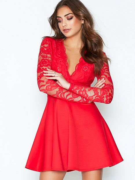 Nelly Dress 1 lace top skater dress nly one dresses clothing nelly
