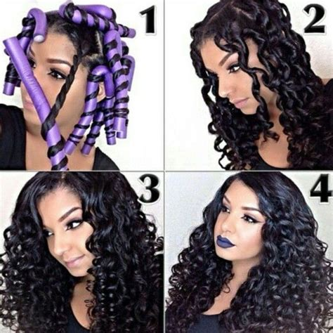 tight curly faux perm steps flexirods on long hair curly hair styles and tips