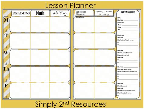 Lesson Planner Template Simply 2nd Resources Lesson Plan Template So Excited To Share
