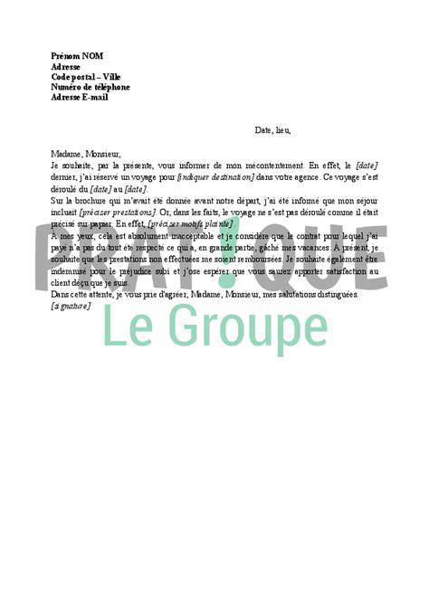 Modèle Lettre De Voyage Lettre De R 233 Clamation 224 Une Agence De Voyage Pratique Fr