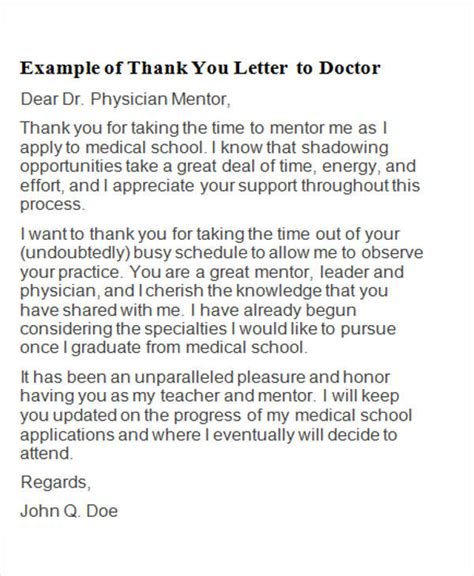 thank you letter to doctor you shadowed 5 sle thank you letters to doctor sle templates