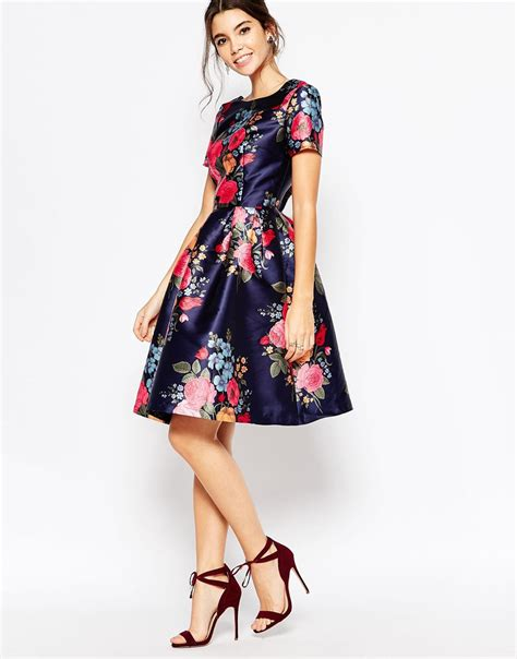 Skirted Dresses by Lyst Chi Chi Midi Prom Dress With Skirt And