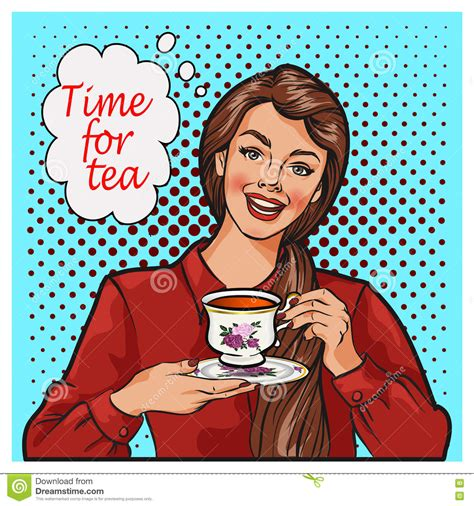 Kitchen Design Download Pop Art Illustration Of Woman With Morning Cup Of Tea Pin